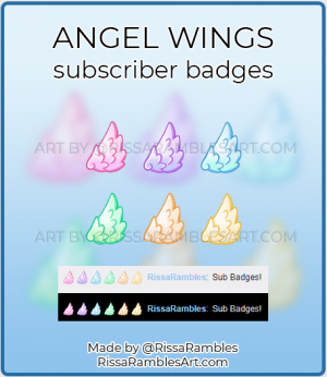 Kawaii Angel Wings | Twitch Sub Badges | Ready to Download | RissaRambles