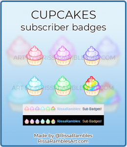Cupcake Twitch Sub Badges | Twitch Sub Badges for Sale | RissaRambles