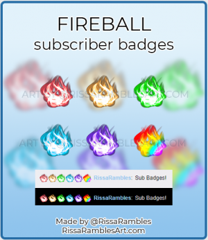 Fireball Sub Badges | Twitch Sub Badges for Sale | RissaRambles