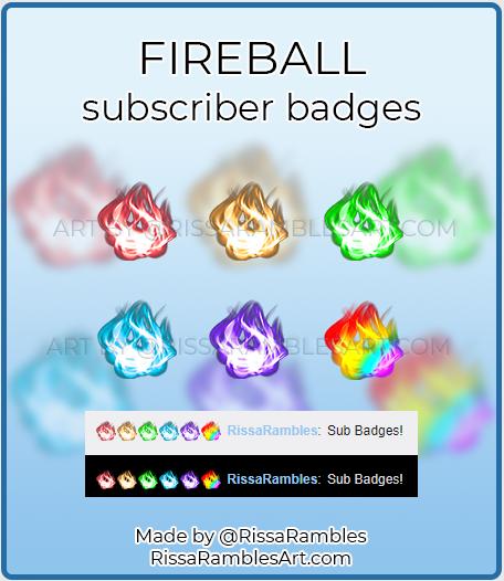 Fireball Sub Badges | Twitch Sub Badges for Sale | RissaRambles