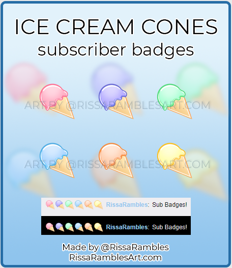 Ice Cream Sub Badges | Twitch Sub Badges for Sale | RissaRambles