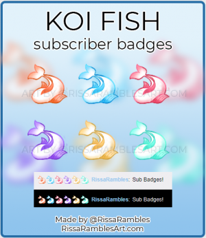 Koi Fish Twitch Sub Badges | Twitch Sub Badges for Sale | RissaRambles