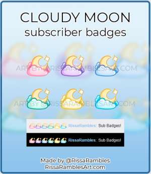Cloudy Moon Stars Twitch Sub Badges | Sailor Moon Badges | RissaRambles