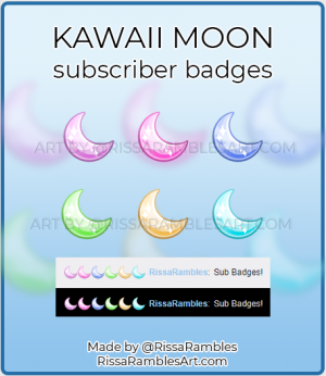 Kawaii Moon Twitch Sub Badges for Sale | RissaRambles
