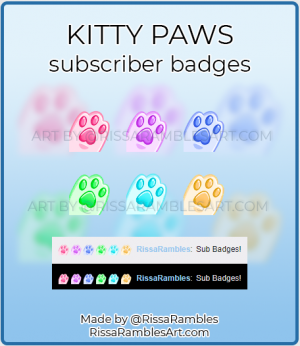 Kitty Paw Twitch Sub Badges for Sale | RissaRambles
