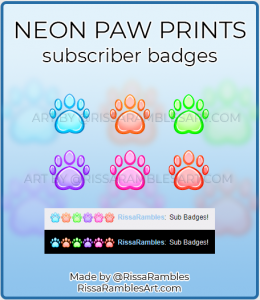 Neon Paw Print Twitch Sub Badges for Sale | Custom Twitch Badges | RissaRambles