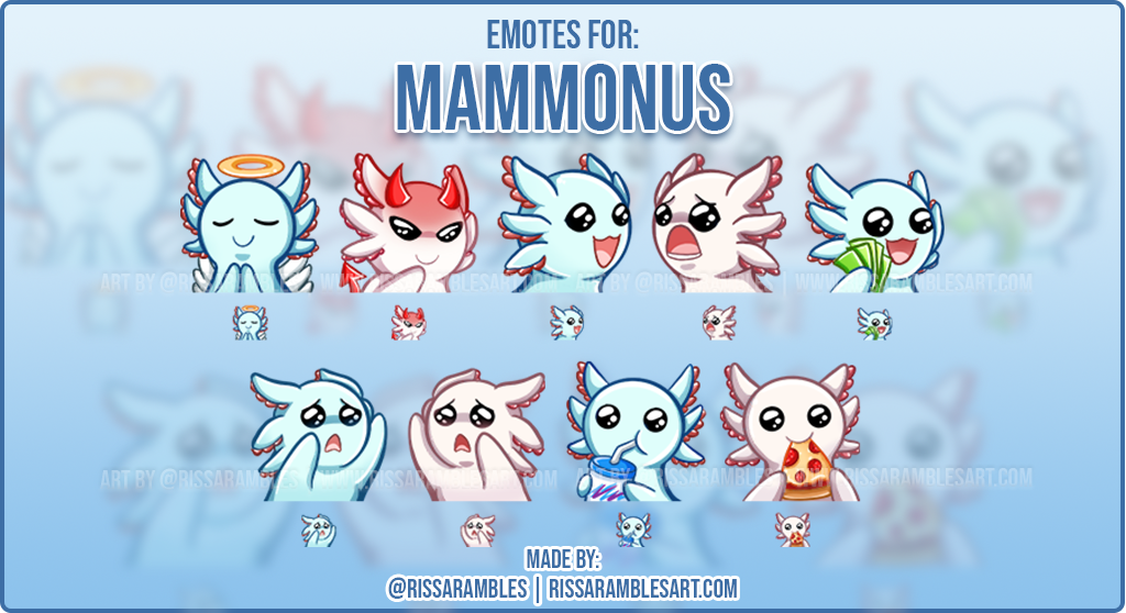 Axolotl Twitch Emotes | Custom Emotes Twitch Emote Artist RissaRambles