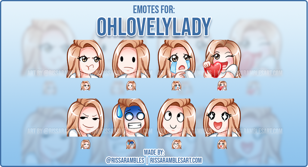 Anime Girl Twitch Emotes | Custom Twitch Emotes | Emote Artist RissaRambles