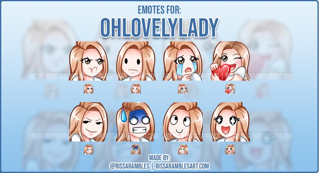 Anime Girl Twitch Emotes   Custom Twitch Emotes   Emote Artist RissaRambles