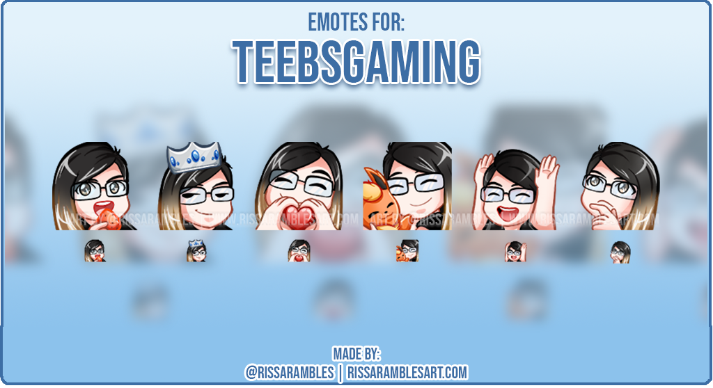 Kawaii Twitch Emotes | Custom Twitch Emotes | Emote Artist RissaRambles