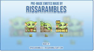 Custom Baby Yoda Twitch Emotes | Emotes and Badges for Twitch | RissaRambles
