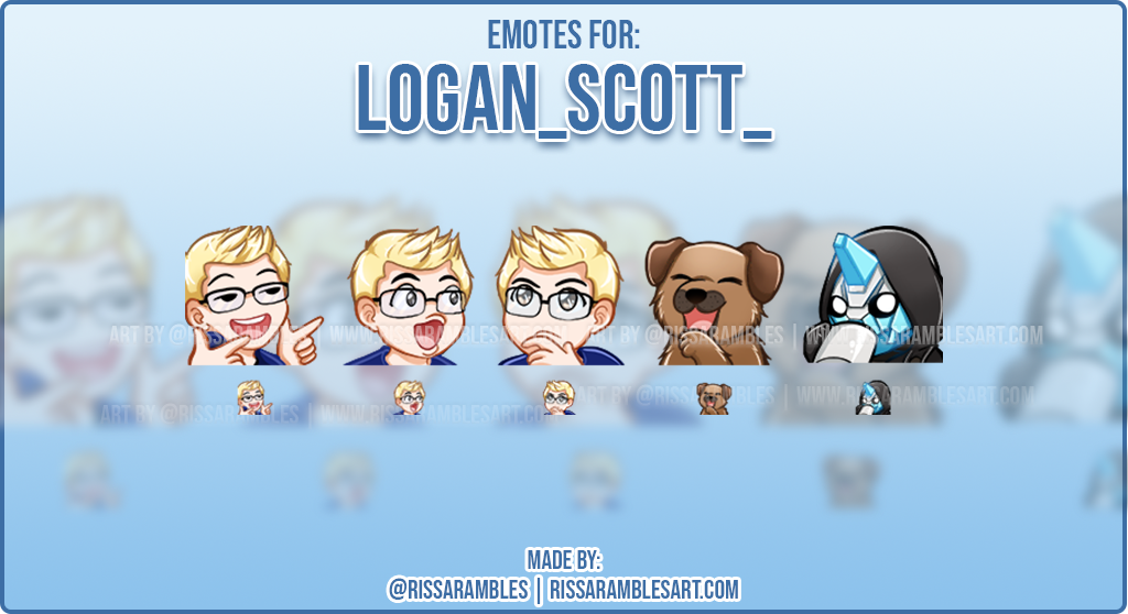 Custom Twitch Emote Logan_scott_ | Emotes and Badges for Twitch | RissaRambles