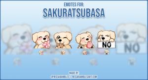 Custom Dog Twitch Emotes Sakuratsubasa | Emotes and Badges for Twitch | RissaRambles