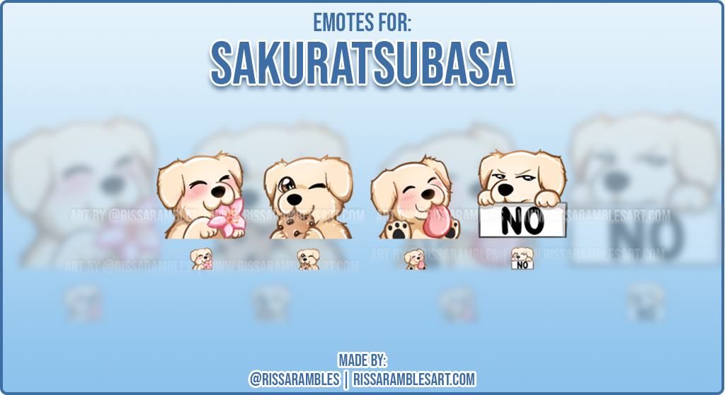 Custom Dog Twitch Emotes Sakuratsubasa | Emotes and Badges for Twitch | RissaRambles