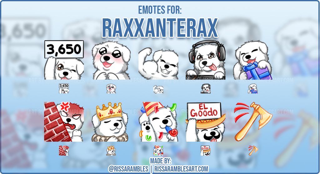 Custom Dog Twitch Emotes Raxxanterax | Emotes and Badges for Twitch | RissaRambles