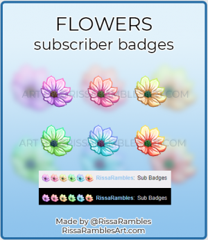 Flower Twitch Sub Badges for Sale | RissaRambles