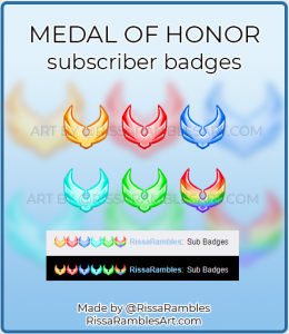 CS CoD Medal of Honor Twitch Sub Badges