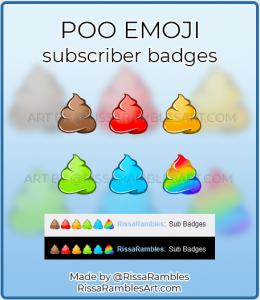 Poo Emoji Twitch Sub Badges for Sale | Twitch Sub Badges Download | RissaRambles