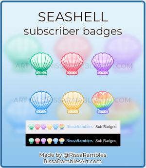 Seashell Twitch Sub Badges | Emote Artist RissaRambles