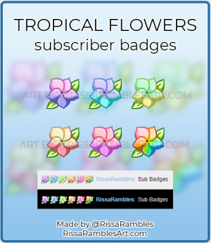 Tropical Flower Twitch Sub Badges for Sale | Custom Emotes by RissaRambles