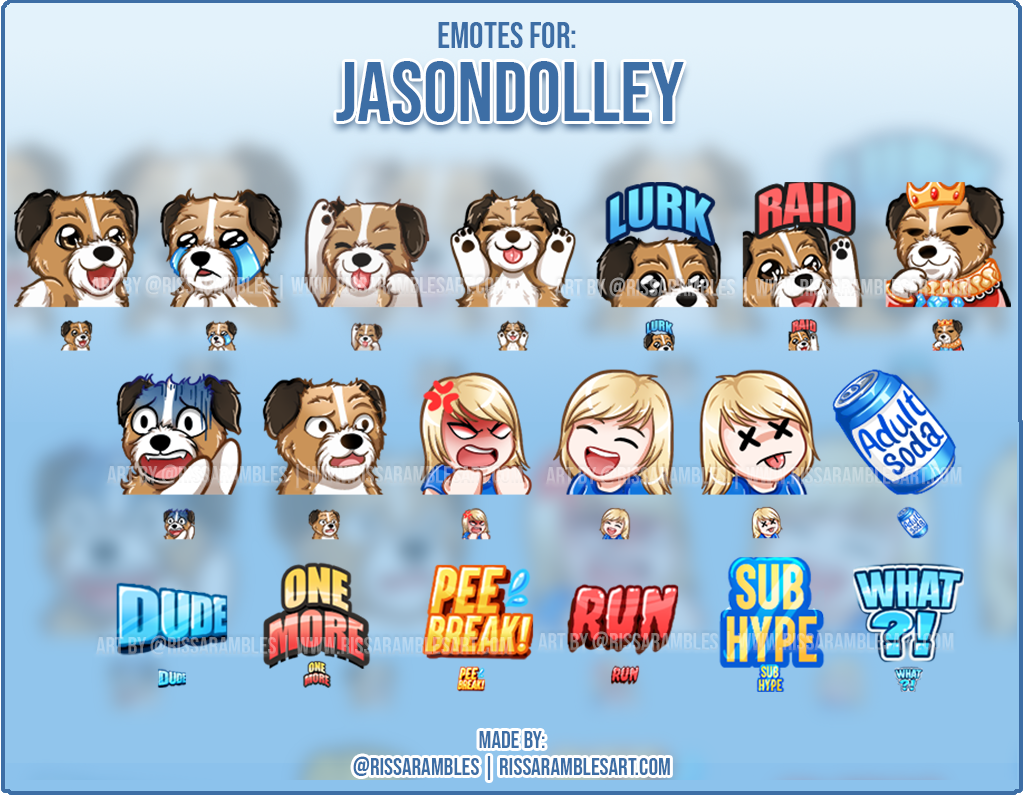 Custom Dog Twitch Emotes | Emotes and Badges for Twitch | RissaRambles