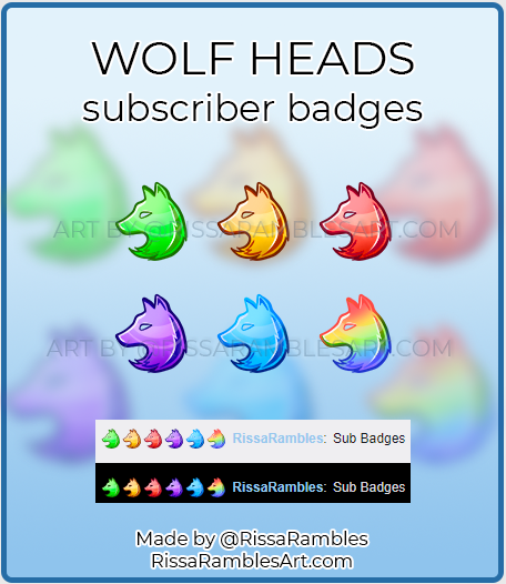 Wolf Twitch Sub Badges for Sale | RissaRambles
