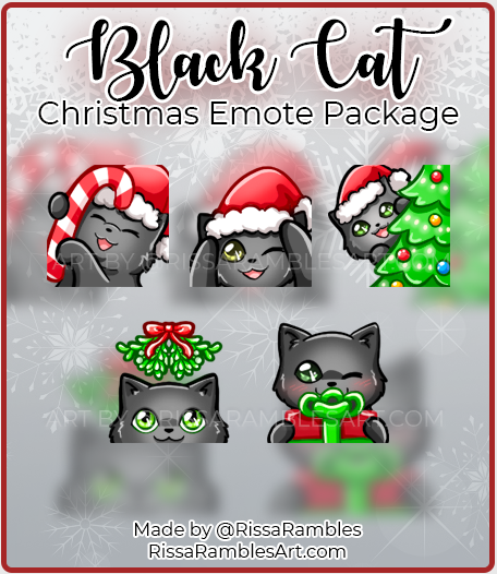 Black Cat Christmas Twitch Emotes | Custom Twitch Emotes Download | RissaRambles