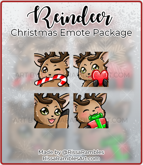 Reindeer Christmas Twitch Emotes | Twitch Emote Download | RissaRambles