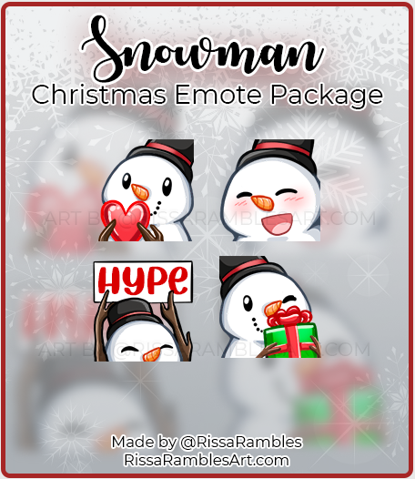 Snowman Christmas Twitch Emotes | Twitch Emote Download | RissaRambles
