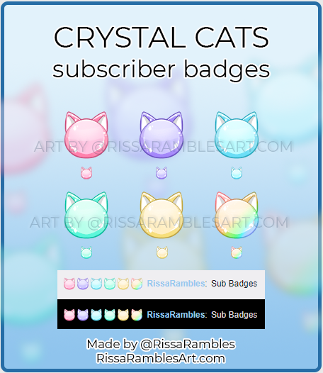 Crystal Cat Twitch Sub Badges | RissaRambles