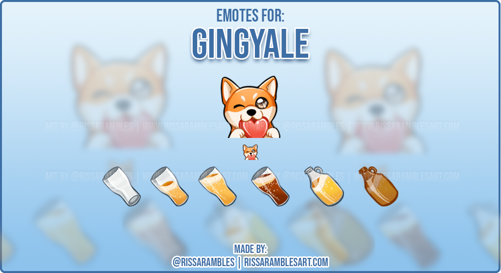 Corgi Emotes for Gingyale | Custom Twitch Emotes Artist RissaRambles