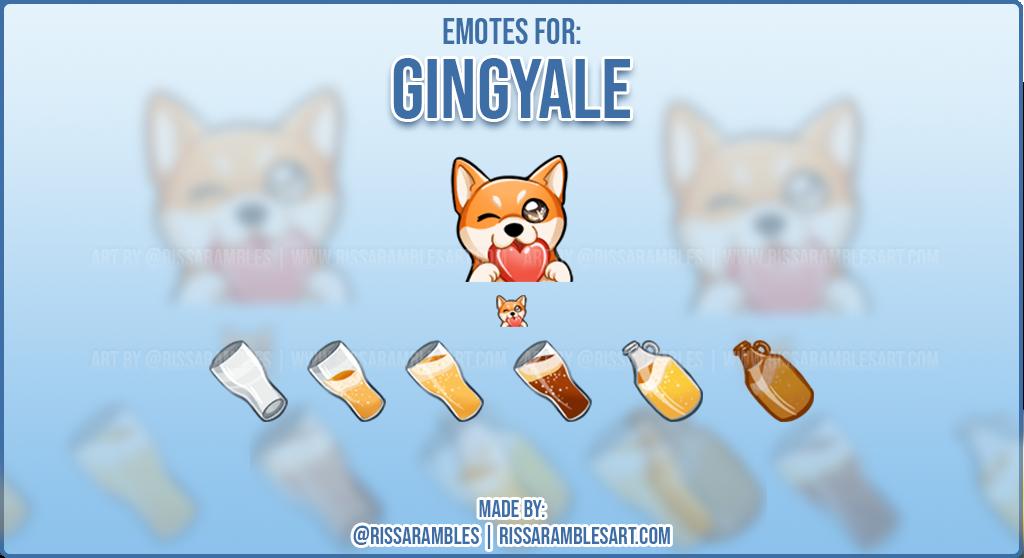 Corgi Emotes for Gingyale | Custom Twitch Emotes Artist RissaRambles