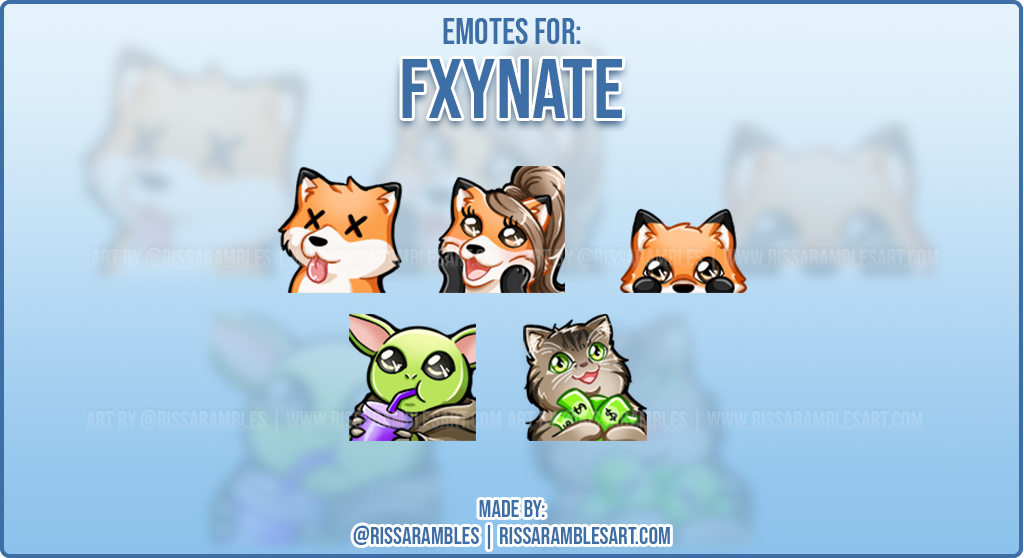 Kawaii Fox Emotes for Fxynate | Custom Twitch Emotes | RissaRambles