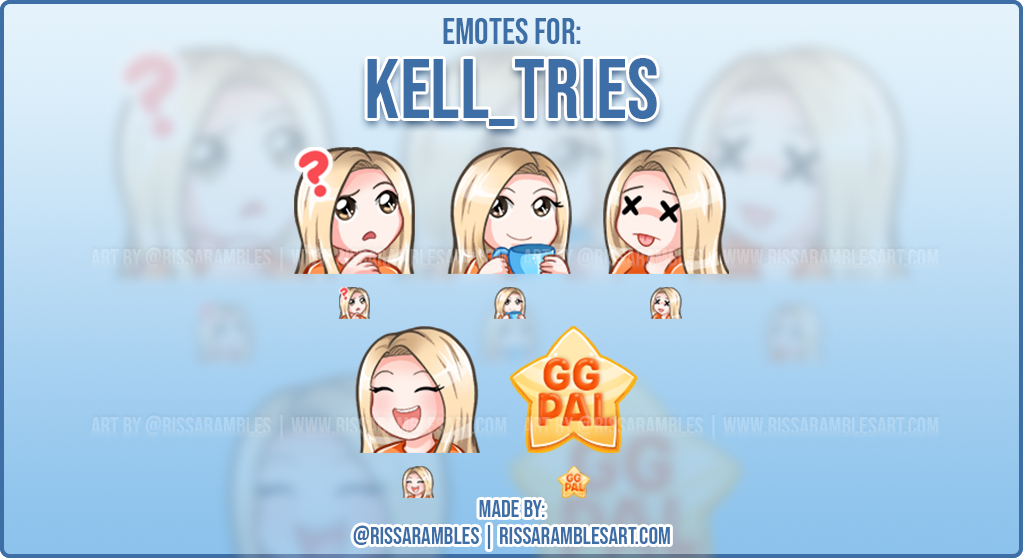 Chibi Twitch Emotes for Kell_Tries | Kawaii Twitch Emotes | RissaRambles