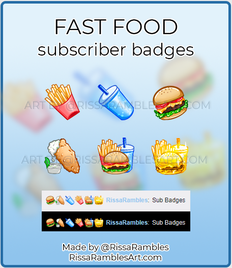 Kawaii Food Twitch Sub Badges | Custom Subscriber Badges | RissaRambles