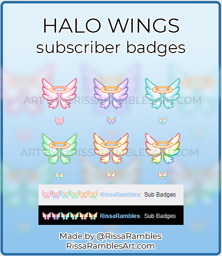 Halo Wings Twitch Sub Badges | RissaRambles