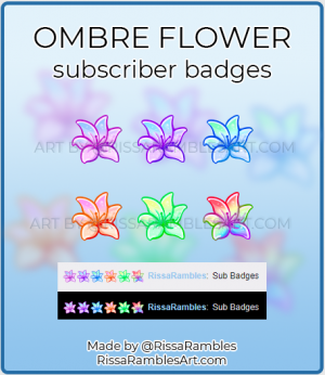 Ombre Lily Flower Twitch Subscriber Badges | Custom Sub Badges | RissaRambles