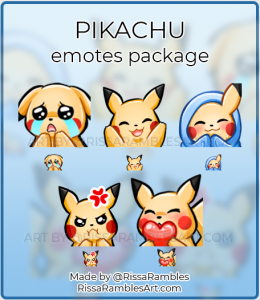 Pikachu Twitch Emotes | Custom Emotes Commission | RissaRambles