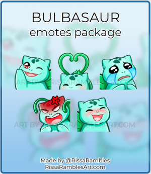 Bulbasaur Pokemon Emotes | Custom Twitch Emotes Commission | RissaRambles