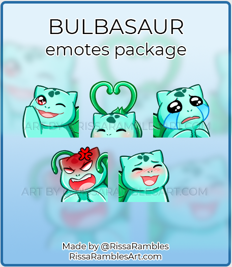 Bulbasaur Pokemon Emotes | Custom Twitch Emotes Commission | RissaRambles