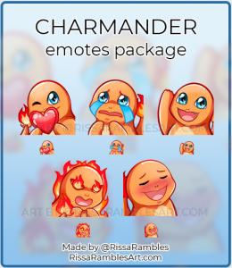 Charmander Pokemon Twitch Emotes for Sale | Custom Emotes | RissaRambles