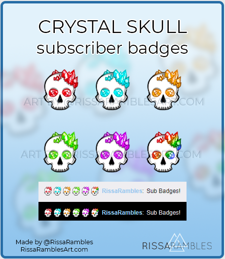 Crystal Skull Twitch Sub Badges | Subscriber Badges for Sale | RissaRambles