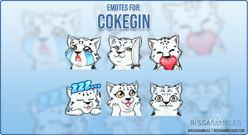 Snow Leopard Twitch Emotes for CokeGin | Custom Twitch Emote Commissions | RissaRambles