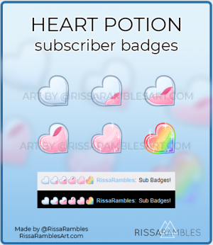Heart Potion Twitch Sub Badges | Subscriber Badges for Sale | RissaRambles