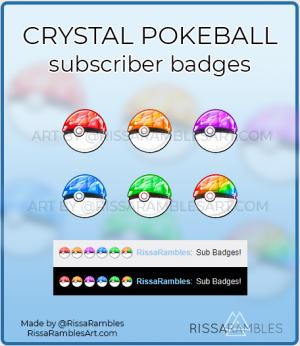 Crystal Pokemon Pokeball Twitch Sub Badges | Custom Sub Badges | RissaRambles